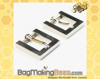 1/2 Inch Shiny Silver Square Die Cast Buckles With Heel Bar [Set Of 2]