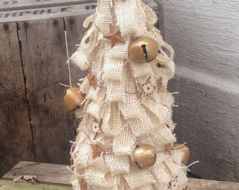 Ivory Burlap Looped Tree, Bells and Stars, Wedding Centerpiece, Party, Wedding, Shower