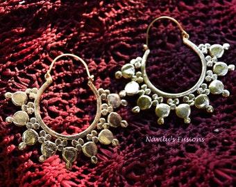 Big hoop brass earring