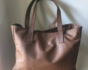 Brown Leather Tote,Leather tote bag.Handmade leather tote,Tote bag with zipper. Women Leather Bag,Tote Bag,Leather school bag,Brown leather
