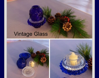 Vintage, Cobalt Blue, Votive, Candle Holder