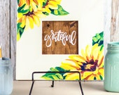 Grateful Sunflowers. Hand-painted framed with hand-lettering