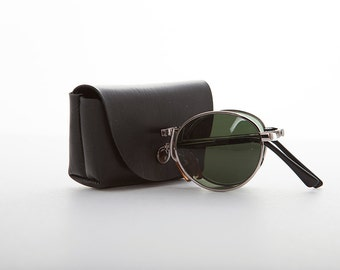 Rare Round Classic Folding Vintage Sunglasses with Case -Houdini