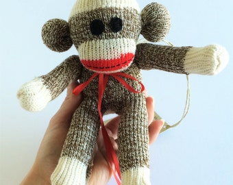 Sock Monkey-Mini-Rockford Red Heel-Handmade-with Felt eyes-Monkey-Plushie-Fox River-Terry, Brown, White, Red, Red Mouth-Pocket Size