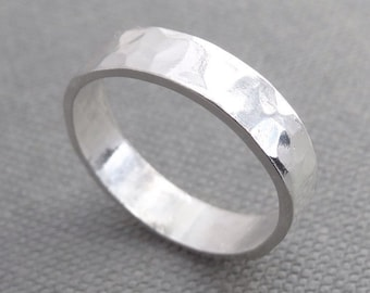 Hammered Sterling Silver ring, sterling silver band ring, silver textured ring, silver statement ring
