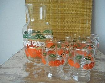 Glass Juice Carafe & Six Glasses Set  Retro 1970s