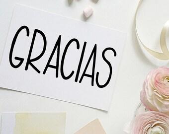 gracias card | thank you card | thanks card | spanish card | tarjeta gracias
