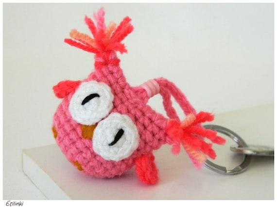 Amigurumi Owl Keychain : Pink Amigurumi Crochet Owl Keychain Rosa Amigurumi by Etilinki