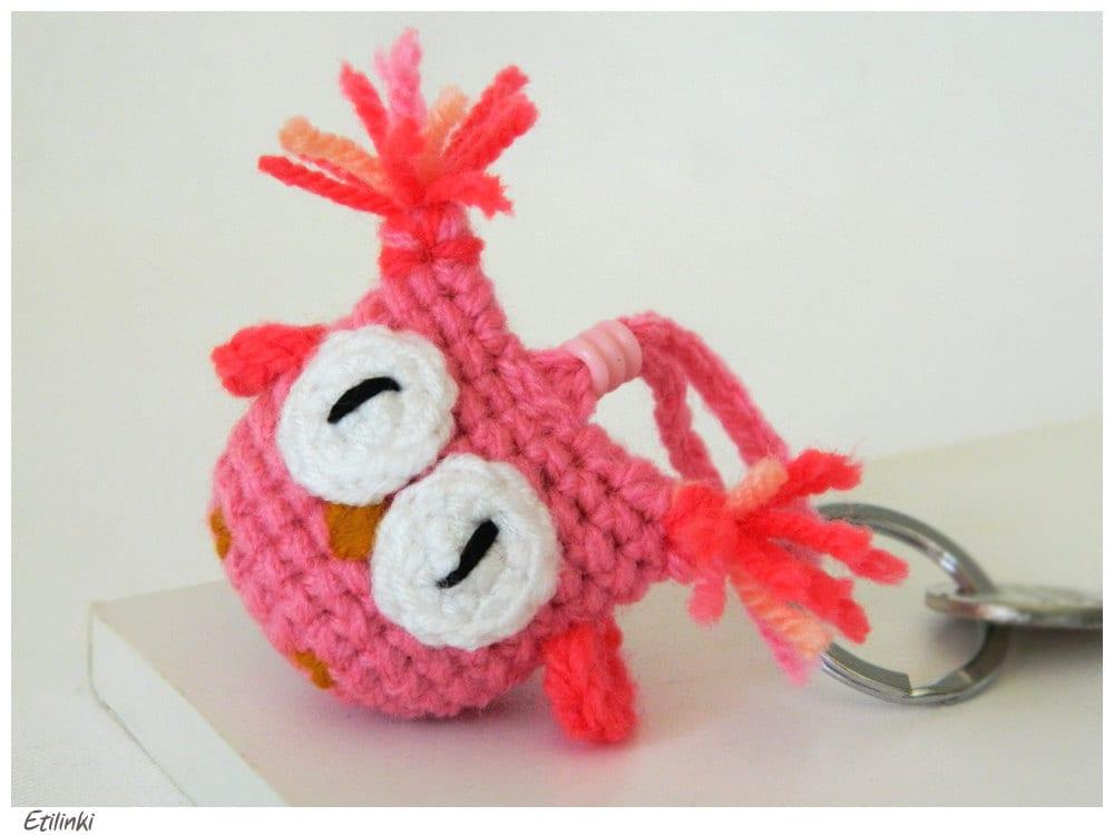 Amigurumi Keychain Loop : Pink Amigurumi Crochet Owl Keychain Rosa Amigurumi by Etilinki
