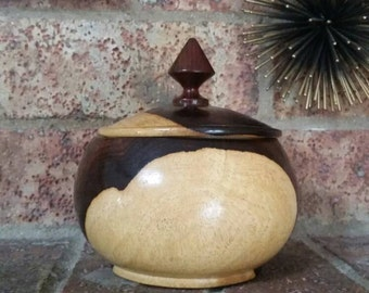 Vintage marbled wood bowl and lid with finial