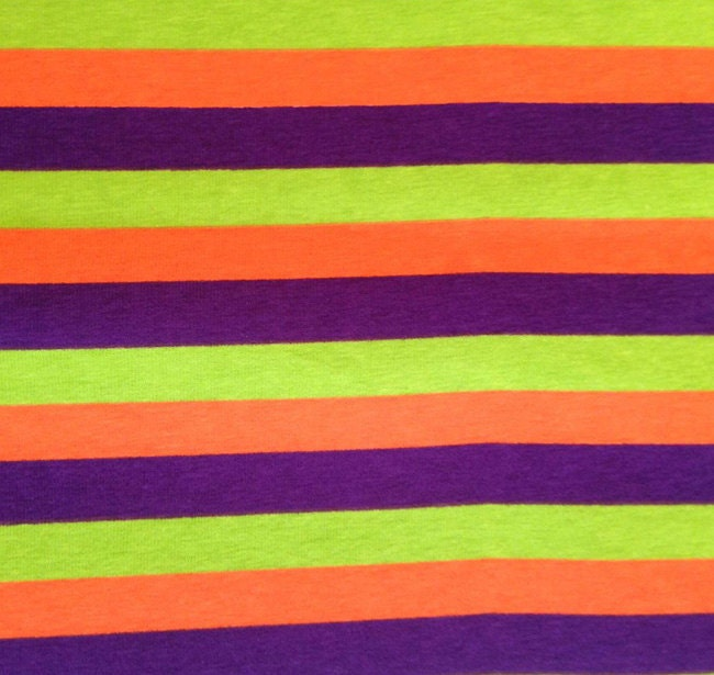 Purple Lime Green And Orange 1 2 Inch Stripes On Cotton Lycra