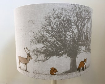 Forest friends on natural linen style fabric, handmade lampshade, various sizes and linings