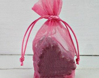 Rose Gusset Organza Favor Bag, Soap Favor Bag, Organza Favor Bag, Pink Drawstring Bag, 3x5 Organza Bag, Wedding Favor Bag, Bridal Favor Bag