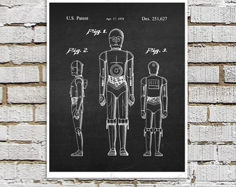 Star Wars print #1 C3PO Robot Patent Poster, Star Wars Decor, Star Wars kids room Decor,  Movie Wall Art,  Star Wars Gift for Kids