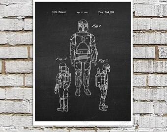 Star Wars print #5 Boba Fett Patent Poster, Star Wars Decor, Star Wars Boys Room Decor,  Star Wars Gift for Kids, Sci-Fi decor