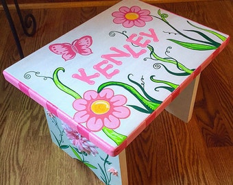 Toddler Wooden Step Stool, Hand-painted Stool, Nursery Decor, Children's Furniture, Pink, Pink and Green Decor, Kids Stool