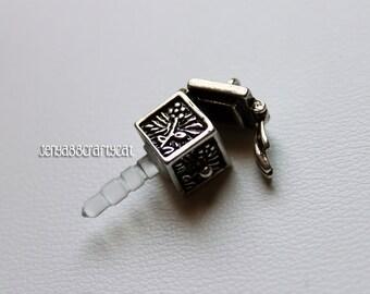 Cell phone Charm - Silver treasure chest - headphone jack plug