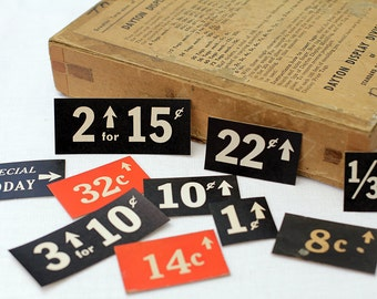 10 x Vintage General Store Price Tags Grocer Labels Grocery Store Shop Antique Shelf
