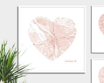 Portland Oregon City Heart Map - Art Print