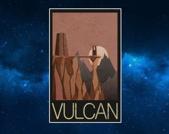 Vulcan Travel Poster Style Fridge magnet. Star Trek. Art Deco