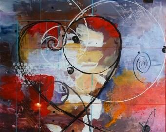 Fibonacci, modern abstract acrylic painting on plexiglass