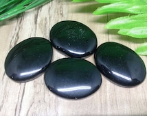 Black Obsidian Worry Stones for reiki healing, Oval Worry Stones chakra balancing, crystal grid, Black Obsidian Palm Stones