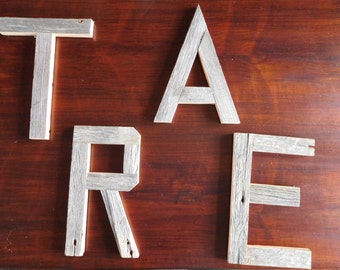 Rustic Weathered Grey Barn Wood Letters, great gift idea for mom, rustic home decor