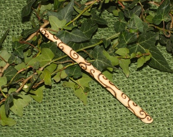 English Oak Wood Spiral Wand - with Bag - for Pagans, Wiccans, Witchcraft, Ritual, Magic, Strength & Courage, Pyrography