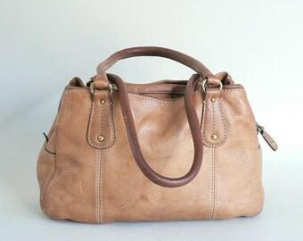Camel Brown Leather Shoulder Bag Purse