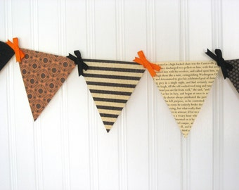 The Canterville Ghost Paper Pennant Banner / Halloween Decoration / Book Page Decor / Party / Bunting / Garland