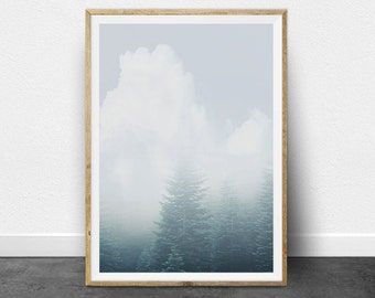 Custom Size 11 x 14 Inch, Minimalist Photography, Printable Art, Abstract, Forest, Clouds, Trees, Subtle, Tranquil, Landscape Photography