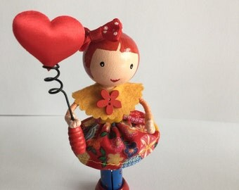 Handmade peg doll/ clothespin doll (PG14)
