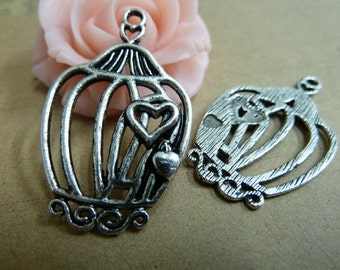 20 Large Birdcage Charms Antique Silver Tone - DYS339