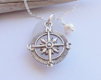 Sea Glass from Scotland Compass Necklace