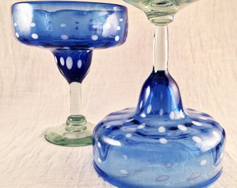 "SALE . Artisanal . Recycled . Multi Colored . Hand Blown  -  ""Iridescent Blue Margarita Glasses"" -  Glass Set Only . SALE"