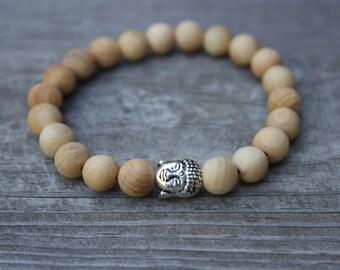 Sandalwood Silver Buddha Bracelet - healing, mala, yoga, natural, buddha