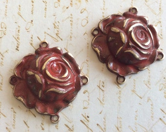 antique brass red patina rose connectirs 4 pc
