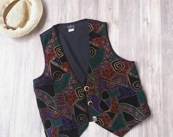 Vintage boho vest   80s boho vest   Tribal vest   Vintage ethnic vest   Vintage hippie vest   Psychedelic vest