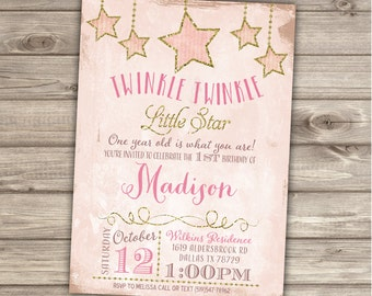 20 Printed Twinkle Twinkle Little Star Birthday Invitations Shabby Pink Gold Glitter Party girl First Birthday Invitations NV1003