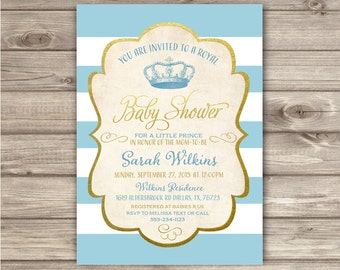 royal baby shower invitations prince blue and gold vintage printable theme party baby boy shower prince