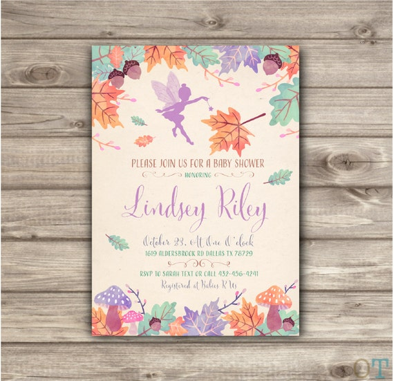 Woodland Fairy Baby Shower Invitation Fall Autumn Leaves