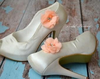 Peach Fluffy Chiffon Flower Shoe Clips   Pearl Rhinestone   Wedding Bridal   Shoe Flowers   Bridal Bridesmaid Gift   Fabric Light Orange