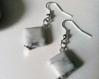 Howlite Drop Earrings, Gemstone Jewelry, Dangle Earrings, Marble, Howlite Gemstone, Sterling 925 Silver Earrings