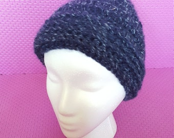 Blue crocheted hat