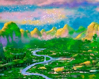 River Valley and Mountains Watercolor Painting