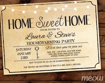 Housewarming Invitation Home Sweet Rustic Home New House Invite Couples Party Vintage Key INSTANT DOWNLOAD Love Digital Printable & Editable