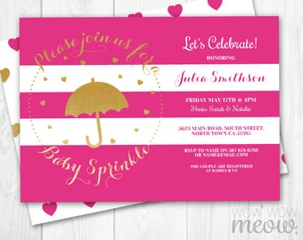 Baby Sprinkle Invitations Pink Gold It's a Girl Twins Invite INSTANT DOWNLOAD Party Umbrella Heart Invite Personalize Editable Printable