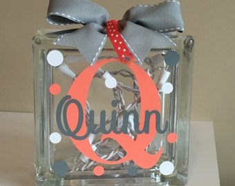 Girls Customized/Personalized Lighted Glass Block Nightlight (6-inch)