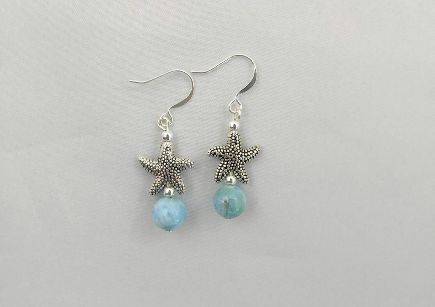 Larimar Bead Earrings Dominican Larimar Beads Larimar
