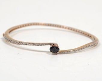 Vintage Gold Tone 925 Sterling Silver Black Onyx Hinged Bangle Bracelet